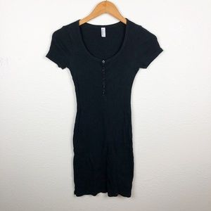 American Apparel Black Button Bodycon Dress